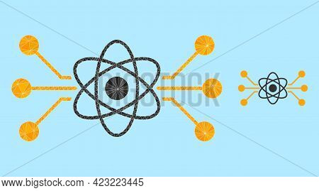 Low-poly Atomic Circuit Icon On A Sky Blue Background. Polygonal Atomic Circuit Vector Filled From R