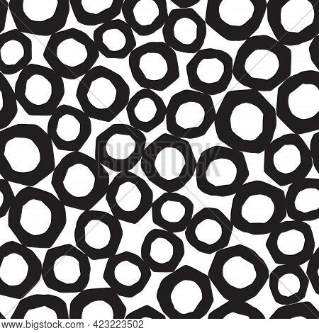 Abstract Background With Black Circles, Vector Seamless Pattern With Round Rush Strokes, Bubbles Sim