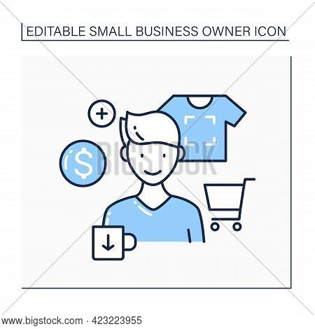 Creator Line Icon. Sell Custom Printed Products. Print Images On Shirts Or Cups. Handmade. Small Bus