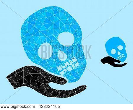 Lowpoly Hand Holds Skull Icon On A Light Blue Background. Polygonal Hand Holds Skull Vector Designed
