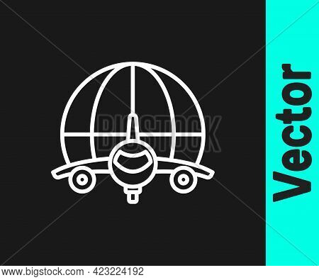 White Line Globe With Flying Plane Icon Isolated On Black Background. Airplane Fly Around The Planet