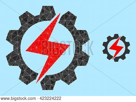 Low-poly Energy Industry Icon On A Sky Blue Background. Polygonal Energy Industry Vector Is Construc
