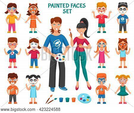 Face Paint For Children Icons Set. Bodyart Paint Vector Illustration. Face Paint Decorative Set.  Gr