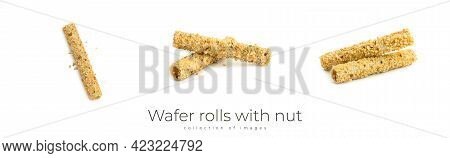 Wafer Rolls With Nut On A White Background.