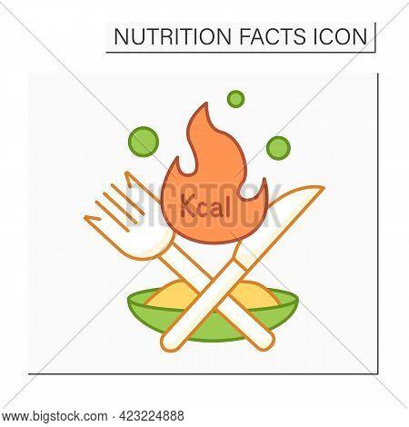 Calories Color Icon. Energy Value. Burning Calories. Diet. Calorie Count. Nutrition Facts.healthy, B