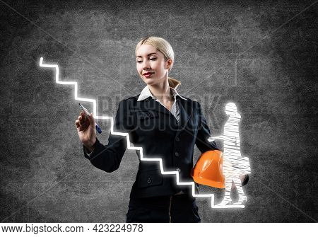 Business Lady Drawing Success Graph Of Professional Career. Strategy Planning And Development Presen