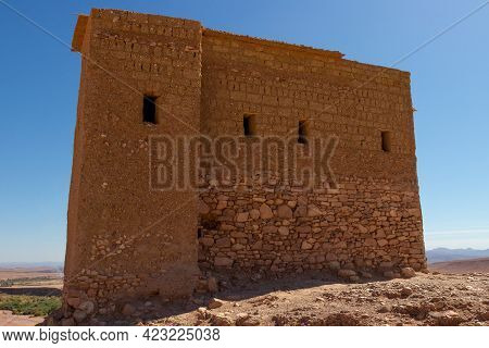 Agadir Or Fortified Granary On The Hilltop In Ancient Ait Benhaddou Kasbah Near Ouarzazate City Moro