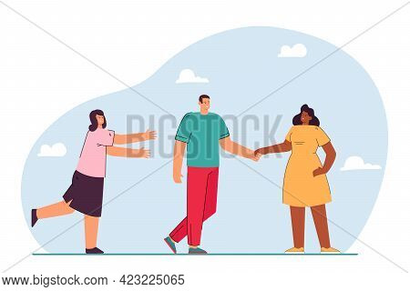 Boyfriend Leaving For Another Girl Flat Vector Illustration. Woman Trying To Save Relationship. Love