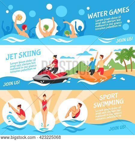 Water Sport Flat Concept. Water Sport Horizontal Banners. Water Sport Vector Illustration. Water Spo