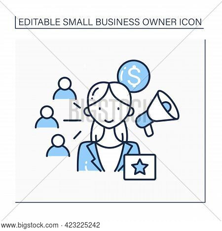 Affiliate Marketing Line Icon. Cooperation Between Brands In Product Promotion. Product Advertising.