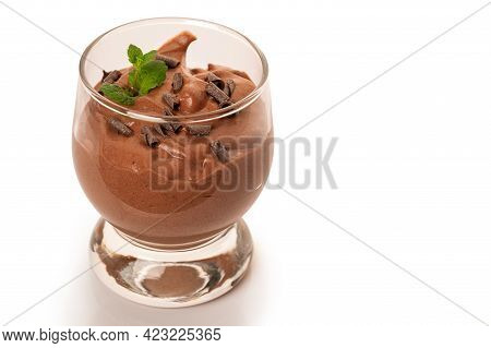 Vegan Chocolate Mousse With Mint Glass Isolated On White Background. . High Quality Photo