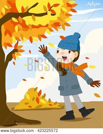 Girl Walking In Autumn Leaves, Happy Girl Throwing Leaves And Smiling
