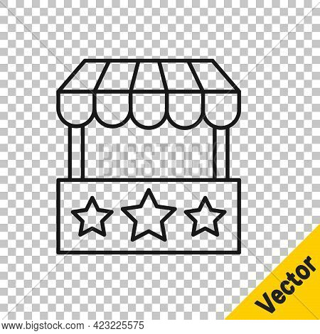 Black Line Ticket Box Office Icon Isolated On Transparent Background. Ticket Booth For The Sale Of T