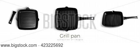 Grill Pan Isolated On White Background. Pan Isolated.