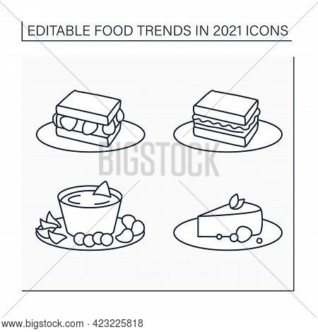 Food Trends Line Icons Set. Trendy Dishes. Sandos With Strawberries And Pork, Beer Cheese, Cheesecak