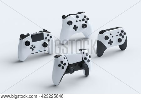 Set Of Standing Gamer Joysticks Or Gamepads On White Background With Blur. 3d Rendering Of Accessori