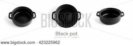 Black Pot Isolated On White Background. Black Kitchenware.