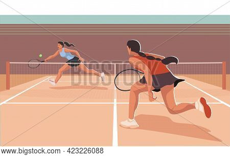 Female Tennis Player Runs To Hit The Ball With A Racket Isolated On Transparent Background. Sportspe