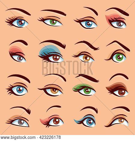 Eye Makeup  Icons Set. Eye Makeup Vector Illustration. Eyes Flat Collection. Eye Makeup Design Set.
