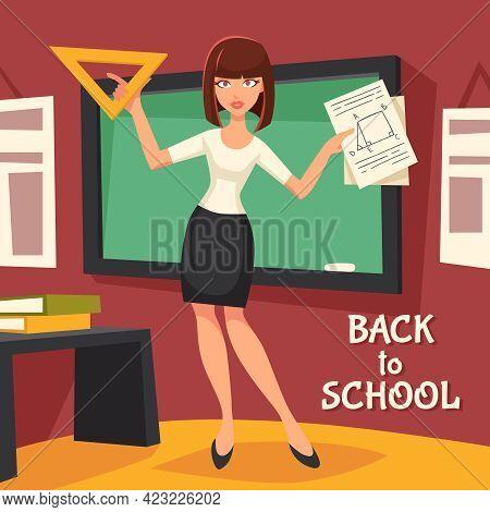 Geometry Teacher Flat Background. Geometry Teacher Vector Illustration.  Back To School Design. Scho