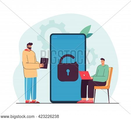 Tiny Men Using Modern Devices. Two Male Characters With Laptop And Tablet. Sitting, Talking, Unlocki