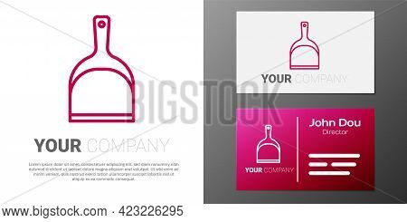 Logotype Line Dustpan Icon Isolated On White Background. Cleaning Scoop Services. Logo Design Templa