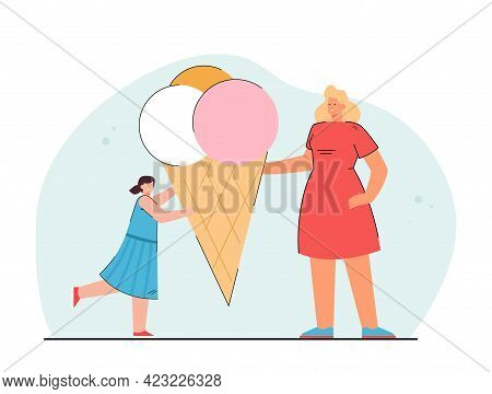 Woman Giving Ice Cream To Girl. Mother Offering Cone With Colorful Balls Of Ice Cream To Daughter. C