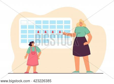 Period Calendar Vector Illustration. Adult Female Character Explaining To Teenage Girl About Menstru