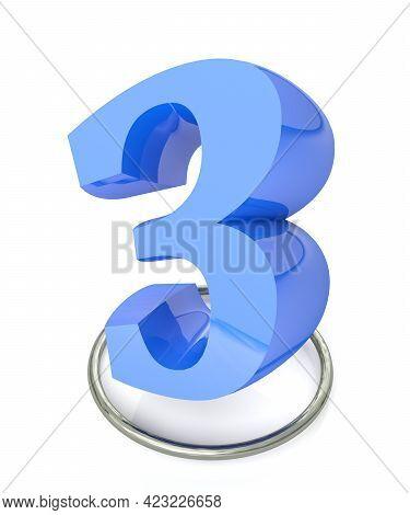 Number 3 Blue Over Metallic Circle On White Background - 3d Rendering Illustration