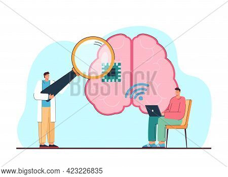 Scientists Experimenting Vector Illustration. Male Characters Making Research About Artificial Intel