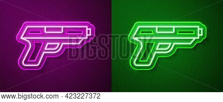 Glowing Neon Line Pistol Or Gun Icon Isolated On Purple And Green Background. Police Or Military Han