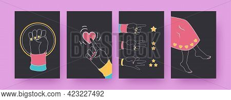 Set Of Contemporary Art Posters With Hipster Hands And Legs. Fingers Counting, Pointing, Fist Vector