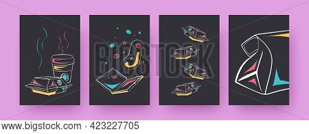 Set Of Contemporary Posters With Take Away Food Boxes. Takeout Packages, Coffee Cups Vector Illustra