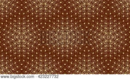Abstract Geometric Pattern. Seamless Vector Background. Dark Brown And Gold Halftone. Graphic Modern