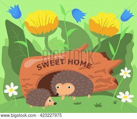 Cute Hedgehog Characters Living In Hollow Cartoon Illustration. Adult Spiky Animal And Child In Hole
