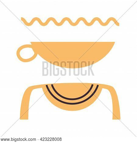 Hieroglyph Of Ancient Egypt With Alphabetic Element Vector Illustration