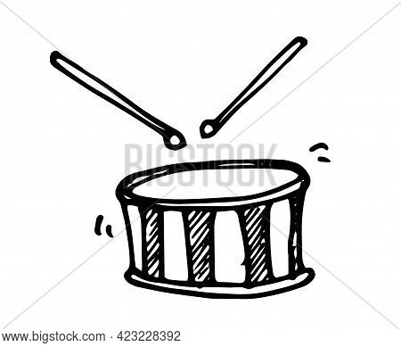 Doodle Drum With Drum Sticks In Cartoon Style On Black Background.vector Drum With Drumsticks. An Is
