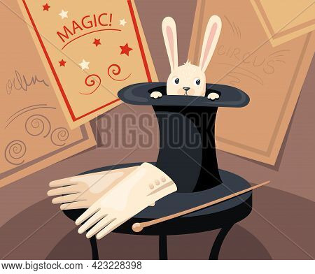 Cute Rabbit Character Hiding In Top Hat Vector Illustration. Headwear With Wild Animal, Gloves And W