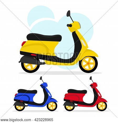 Set Of Three Scooters In Different Colors On A White Background, Vector Illustration. The Concept Of