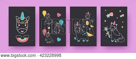 Collection Of Contemporary Posters With Adorable Unicorns. Balloons, Rainbow, Stars, Hearts Vector I