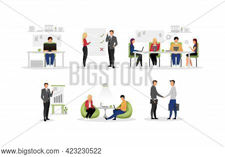 Office Work Flat Vector Illustrations Set. Coworking, Negotiations, Business Meeting, Conference. Wo