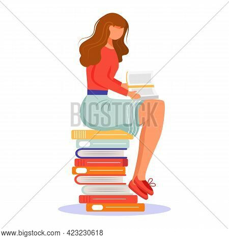 Girl Reading Book Flat Vector Illustration. Student With Paperback Book. Exam Preparation. Young Wom