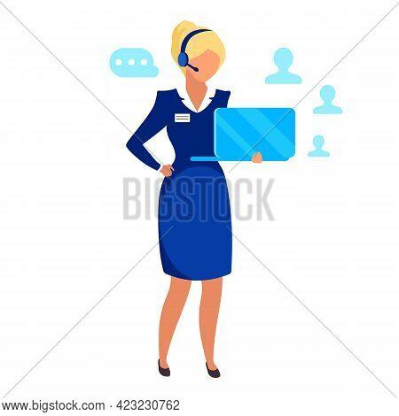 Female Entrepreneur Flat Vector Illustration. Successful Businesswoman, Telemarketing Agent Isolated