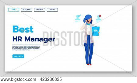Best Hr Manager Landing Page Vector Template. Employment Agency Website Interface Idea With Flat Ill
