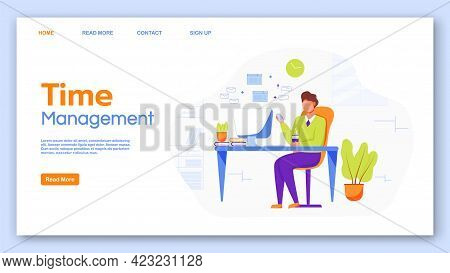 Time Management Landing Page Vector Template. Office Work Website Interface Idea With Flat Illustrat