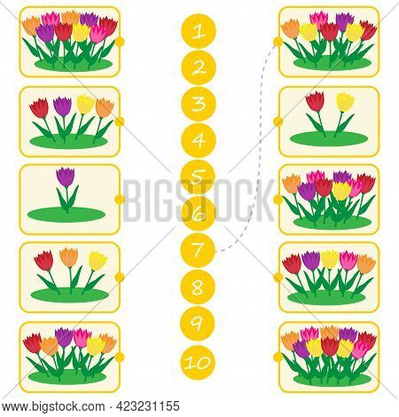 Math Education For Children. Count From 1 To 10. Flowers In The Flowerbed. Education Logic Game For