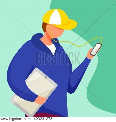 Young Man With Tablet Watching Smartphone Screen Flat Vector Illustration. Teenager Culture. Adolesc