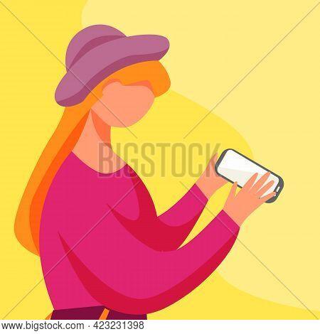 Teenage Girl With Smartphone Flat Vector Illustration. Teens Lifestyle. Millennial. Adolescent Cauca