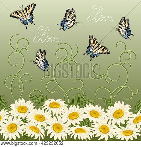 Abstract Vector Pattern With Flowers.butterflies And Daisies In A Colored Seamless Pattern.