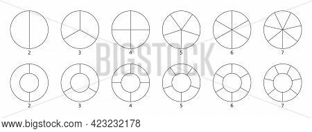 Segment Slice Sign. Wheel Round Diagram Part. Circle Section Graph Line Art. Pie Chart Icon. 2, 3, 4